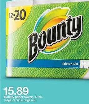 Target Weekly Ad: Bounty Select-A-Size White Paper Towels 12 Mega Rolls for $15.89