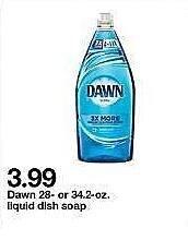 Target Weekly Ad: Dawn® Escapes New Zealand Springs Dishwashing Liquid 34.2 Oz for $3.99