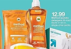 Target Weekly Ad: Method 4x Concentrated Laundry Detergent, Ginger Mango 53.5 oz for $12.99