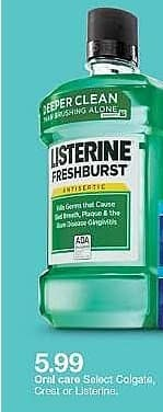 Target Weekly Ad: Original Listerine Antiseptic Mouthwash To Freshen Breath And Kill Germs In Mouth - 1.5 L for $5.99