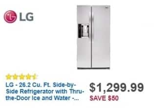 Best Buy Weekly Ad: LG - 26.2 cu. ft. Side-by-Side Refrigerator-Stainless Steel for $1,299.99