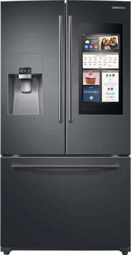 Best Buy Weekly Ad: Samsung - Family Hub 24.2 cu. ft. Black Stainless Steel French Door Refrigerator for $2,399.99