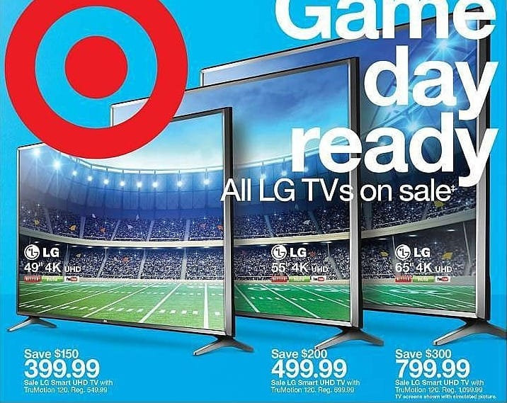 "Target Weekly Ad: LG 55"" Class 2160p 4K Ultra HD Smart LED TV for $499.99"