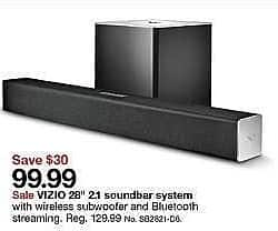 "Target Weekly Ad: VIZIO 28"" 2.1 Soundbar (SB2821-D6) for $99.99"