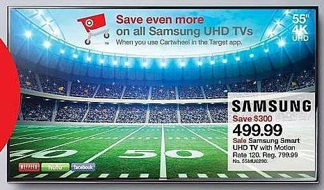 "Target Weekly Ad: Samsung® 55"" Class 2160p 4K Smart Ultra HD TV - 55MU6300 for $499.99"