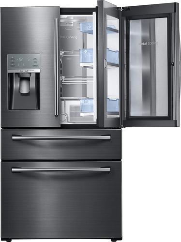 Best Buy Weekly Ad: Samsung - Showcase 27.8 cu. ft. Black Stainless Steel 4-Door French Door Refrigerator for $2,999.99
