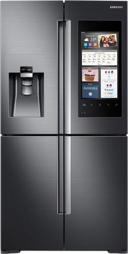 Best Buy Weekly Ad: Samsung - Family Hub 2.0 22.0 cu. ft. Black Stainless Steel 4-Door Flex French Door Counter-Depth Refrigerator for $3,499.99