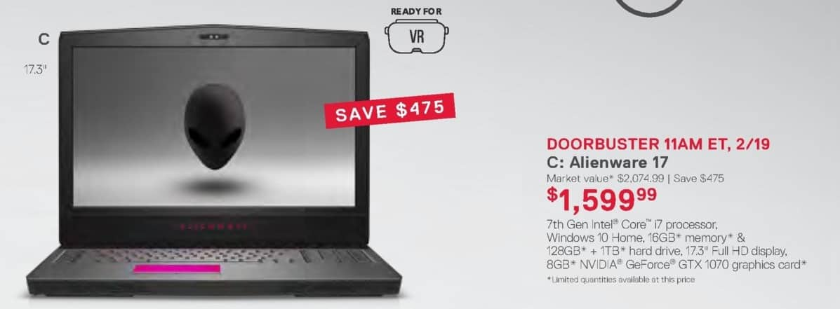 Dell Home & Office Weekly Ad: Alienware 17 for $1,599.99