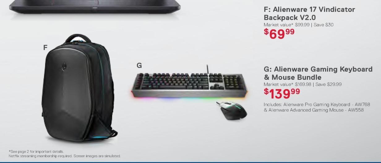 Dell Home & Office Weekly Ad: Alienware 17 Vindicator Backpack V2.0 for $69.99