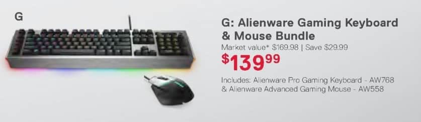 Dell Home & Office Weekly Ad: Alienware Gaming Keyboard & Mouse Bundle for $139.99
