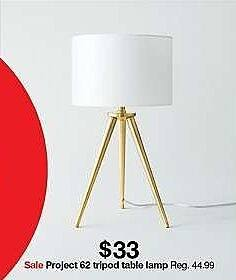 Target Weekly Ad: Delavan Tripod Table Lamp Nickel Lamp Only - Project 62 for $33.00
