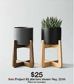 Target Weekly Ad: Wood & Stoneware Indoor Planter Small - Black - Project 62 for $25.00