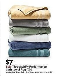 Target Weekly Ad: Performance Solid Bath Towels - Threshold for $7.00