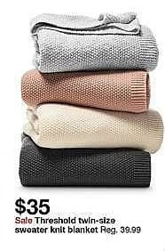 Target Weekly Ad: Sweater Knit Blanket - Threshold for $35.00