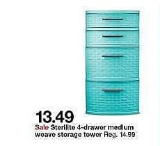 Target Weekly Ad: 4 drawer weave tower - Blue for $13.49