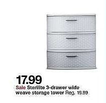 Target Weekly Ad: 3 drawer wide weave tower for $19.99