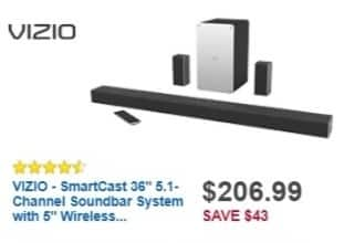 Best Buy Weekly Ad: VIZIO SmartCast 5.1-Ch. Soundbar System with Wireless Subwoofer for $206.99