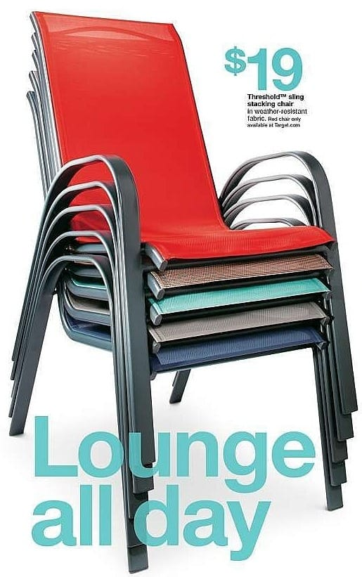 Target Weekly Ad: Sling Stacking Patio Chair - Threshold™ for $19.00