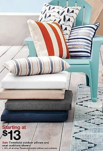 Target Weekly Ad: Select Threshold outdoor pillows and seat cushions - Starting at $13