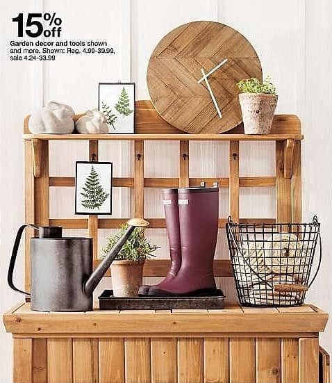 Target Weekly Ad: Select garden decor and tools - 15% off