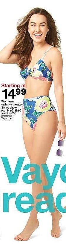 Target Weekly Ad: Women's swim separates - 14.99