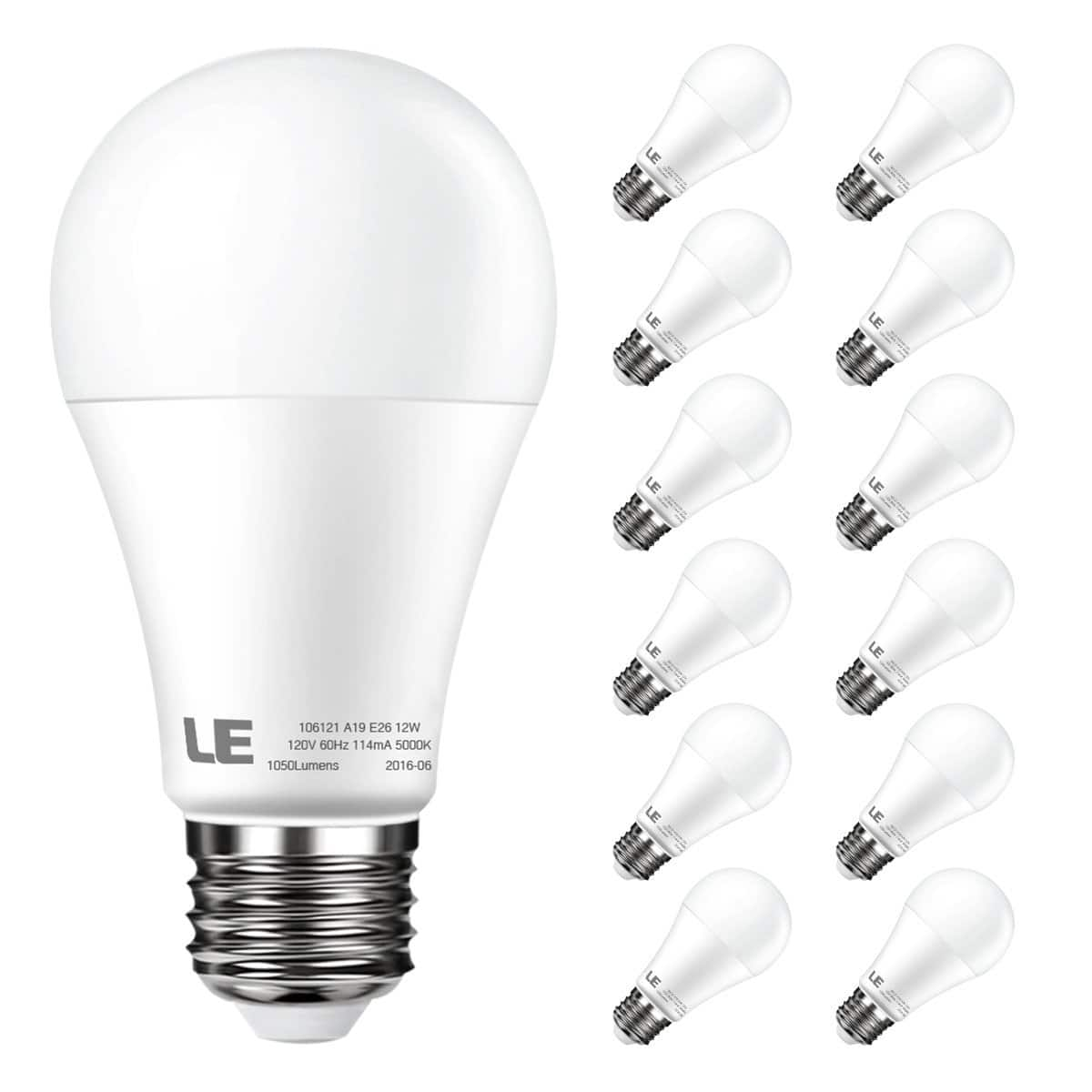 12 pack 12W Non-Dimmable A19 E26 LED Bulbs $19.99 Free Shipping W/Amazon Prime