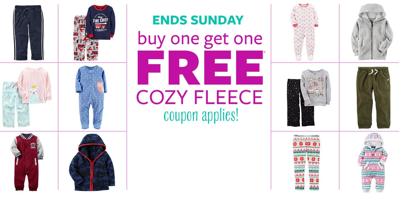 "Buy One Get One Free ""Cozy Fleece"" + Extra 25% Off $50 AC @Carters"
