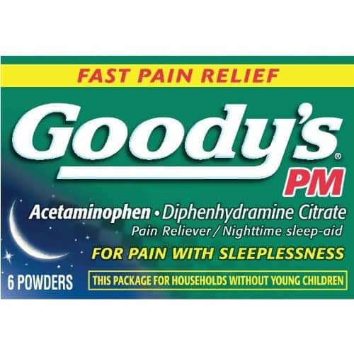 Add on item: Goody's PM Pain Relief Powder - Pain Relief Caused by Headaches and Other Minor Aches & Pains  6 count- $2.50 @Amazon