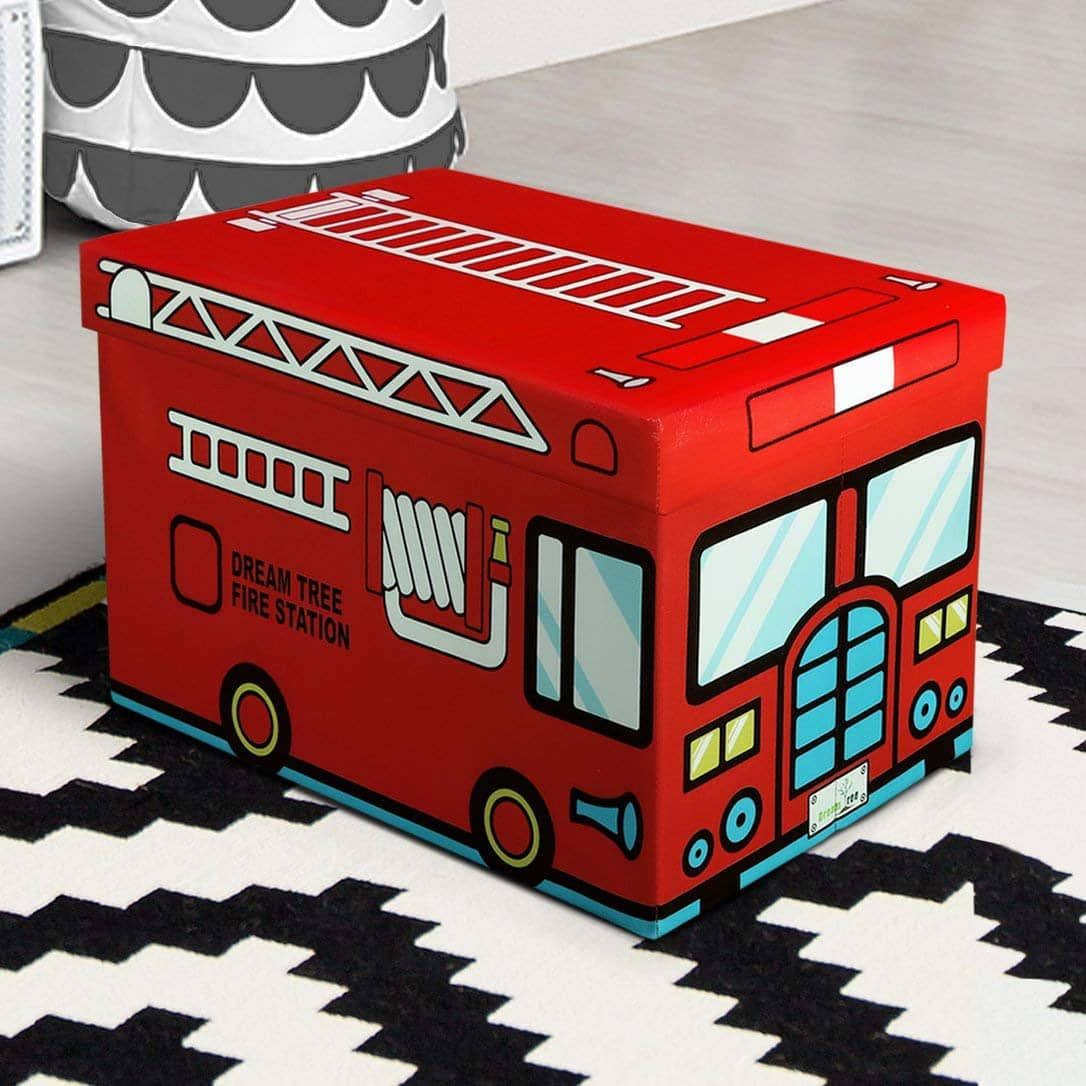 Marvelous Only 16 99 Fire Truck Design Kids Toy Box From Otto Ben Folding Storage Ottoman Chest With Foam Cushion Seat Washable Faux Leather Foot Rest Machost Co Dining Chair Design Ideas Machostcouk