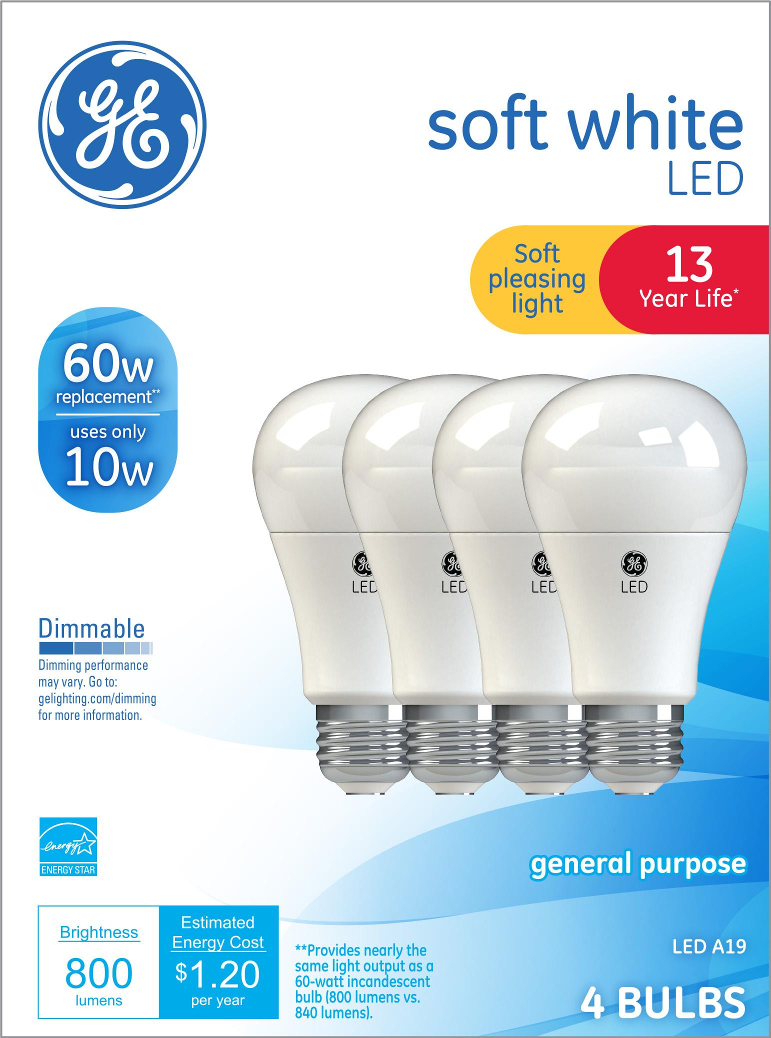 Walmart Clearance - 4 Pack 60W Equivalent GE LED Bulbs $0.97 (Reg $8,97)