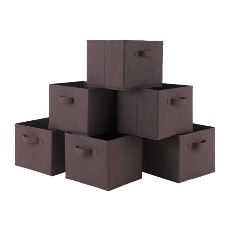 Winsome Wood Capri 6pc Folding Fabric Baskets, Chocolate for $16.39