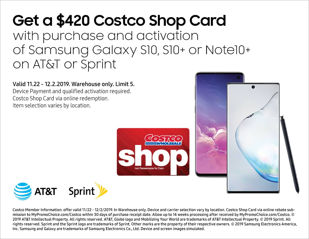 Costco In-Store Offer: AT&T or Sprint Samsung Galaxy Note 10+ , S10+ S10 (Activation Req.) - Get $420 Costco shop card