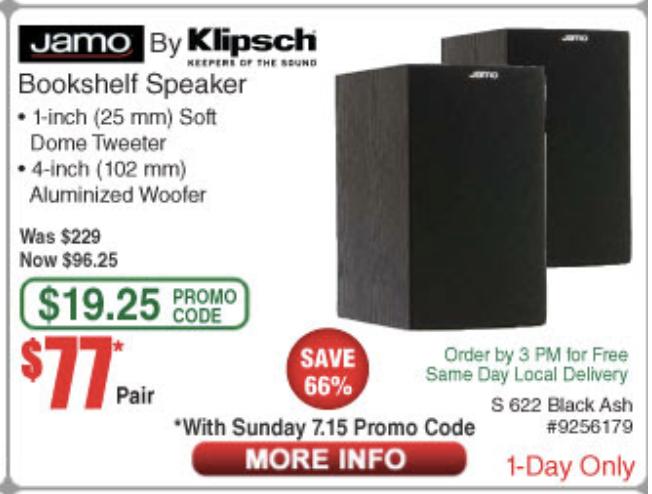 Jamo Klipsch S 622 Bookshelf Speakers Pair