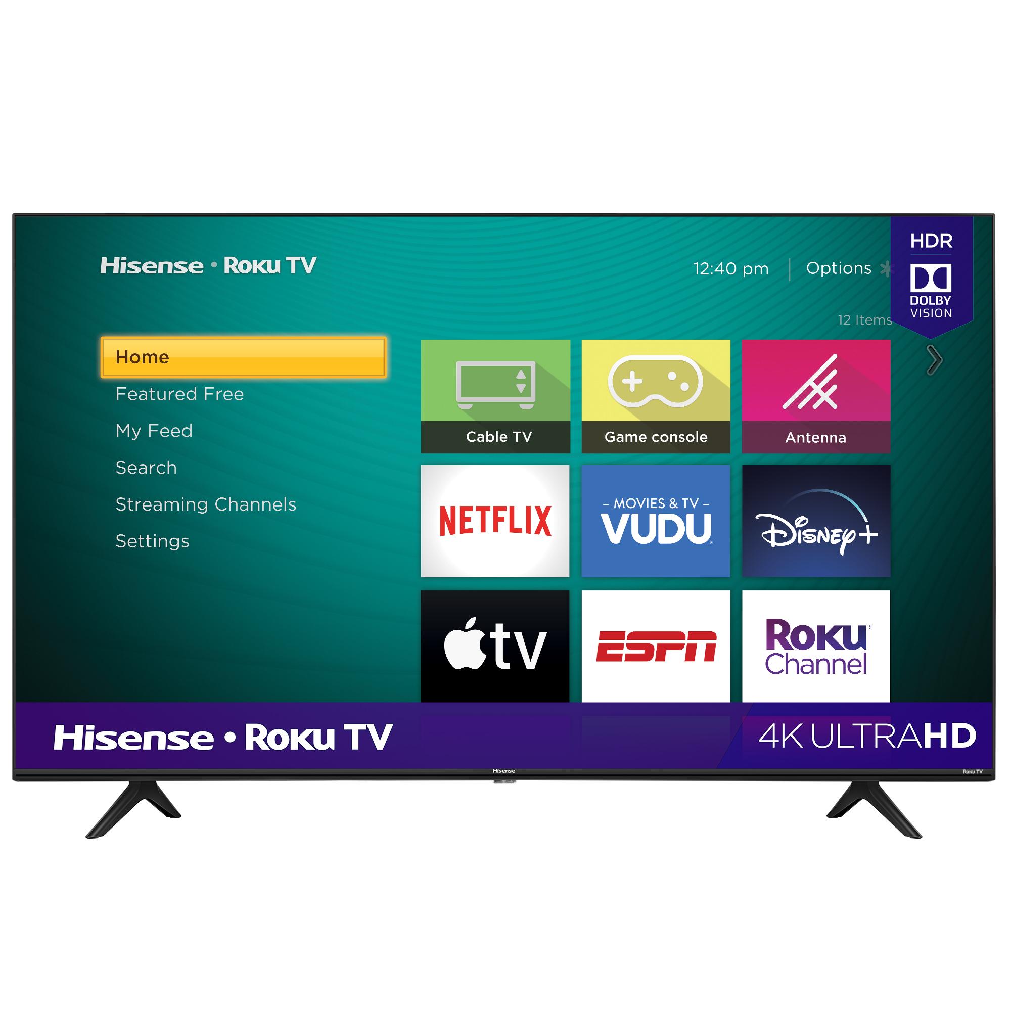 """Hisense 58"""" Class 4K UHD LED Roku Smart TV HDR 58R6E3 - $278 - Free Shipping"""