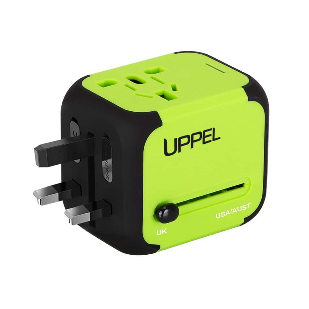 Dual USB All-in-one Worldwide Travel Chargers Adapters for US EU UK AU with Safety Fuse- $10.49
