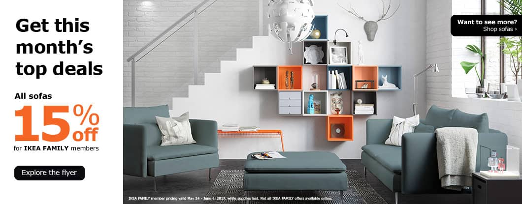IKEA 15% off all Sofa/Kitchen/Bathroom furniture