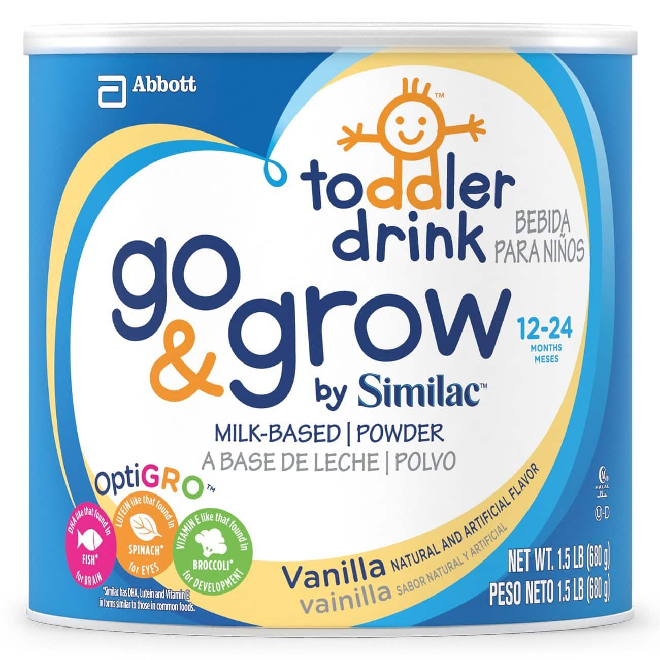 Go & Grow By Similac Milk Based Toddler Drink, Vanilla, Powder, 1.5lbs (Pack of 4) $60@amazon $59.99