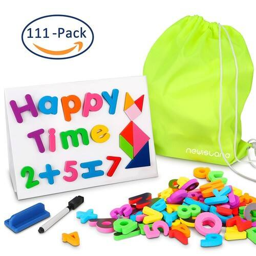 Newisland Magnetic Foam Letters and Numbers with Whiteboard $12.39 @Amazon