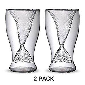 Homecube 2 Pack Creative Personality Mermaid Handmade Glass Cup Ice Cream Cup Double High-temperature Glass of Red Wine for $7.99 @Amazon