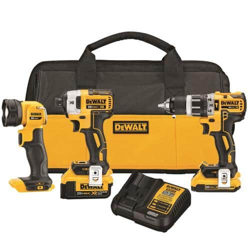 DeWalt 3-Tool MAX XR 20V Cordless Brushless Hammer Drill/Impact Driver/Work LED Combo Kit $249 - Online only @ Lowe's