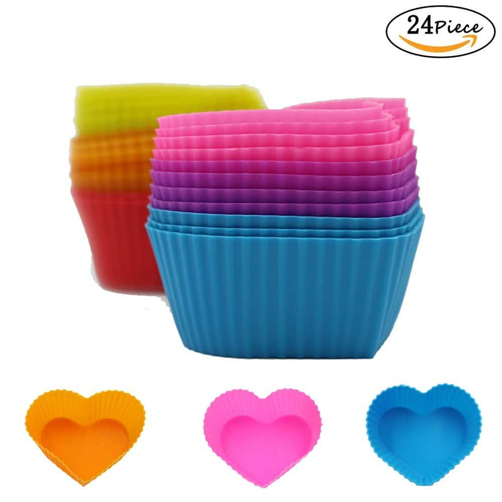 24 Packs Hippih Rainbow Bright Silicone Baking Cup Cake Molds $5.99
