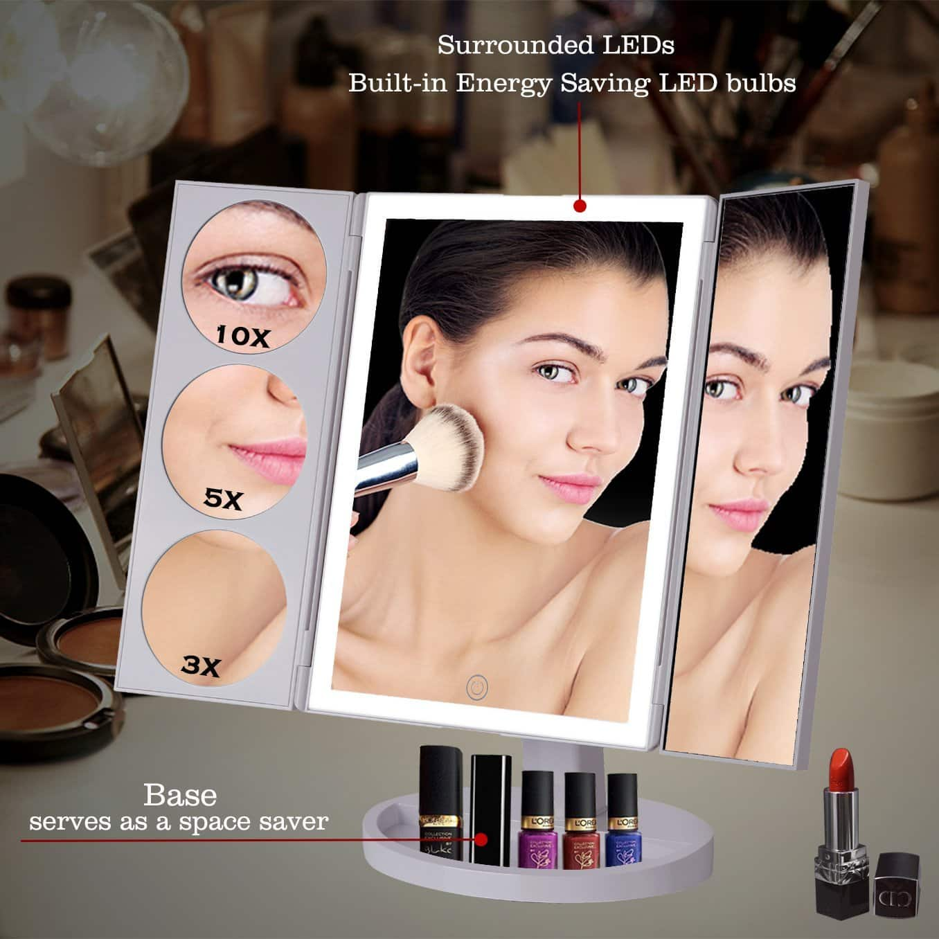19.2 inch Trifold Professional Vanity Lighted Makeup Mirror with 3X/5X/10X Magnification, 360° Rotation, Touch Screen, Battery and USB Powered $27.99