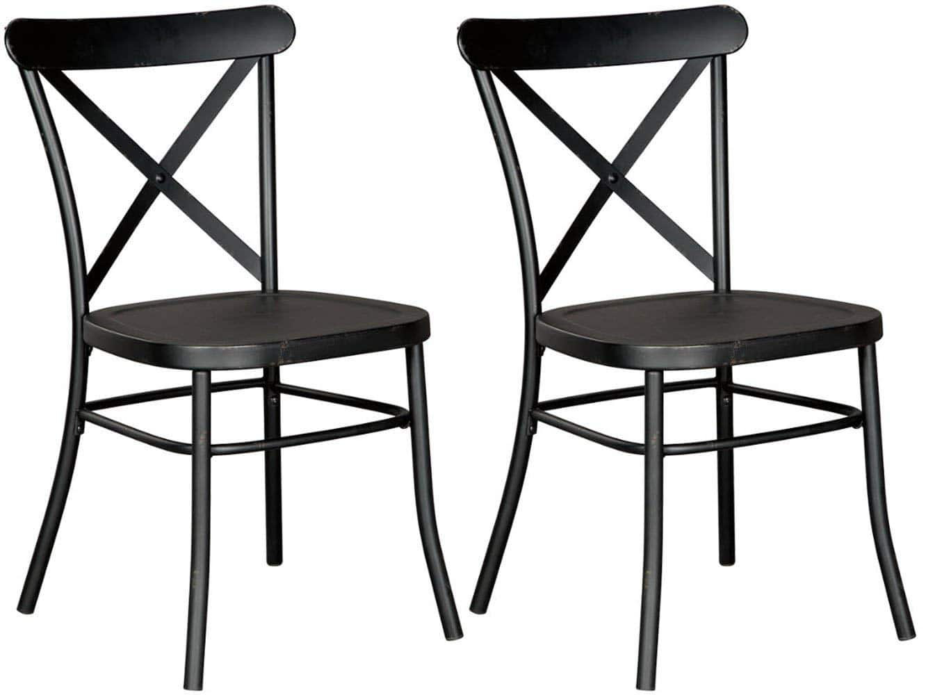 Ashley Furniture Signature Design   Minnona Dining Side Chair   Set Of 2    Cross Back   Vintage Casual Style   Antique Black Finished Metal $16.27 FS  Prime