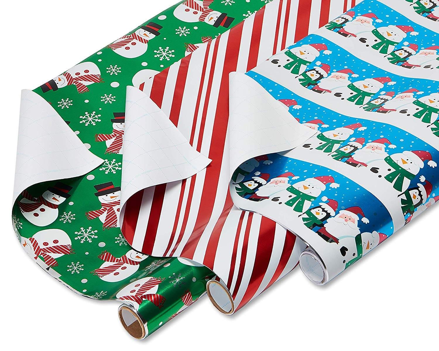 American Greetings Foil Christmas Bulk Gift Wrapping Paper Bundle with Gridlines, 3 Rolls; Santa and Friends, Candy Cane Stripes and Snowmen, 90 Total sq. ft. $3.79