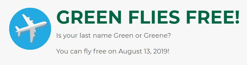 Fly For Free On Frontier Next Week if your last name is green or greene. Up to $400