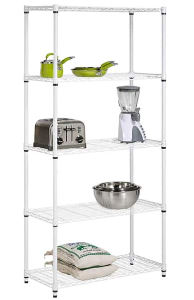 Honey-Can-Do SHF-01573 5-Tier Adjustable Shelving System, 14-Inch by 36-Inch by 72-Inch, White [200 lbs per shelf] $36.48