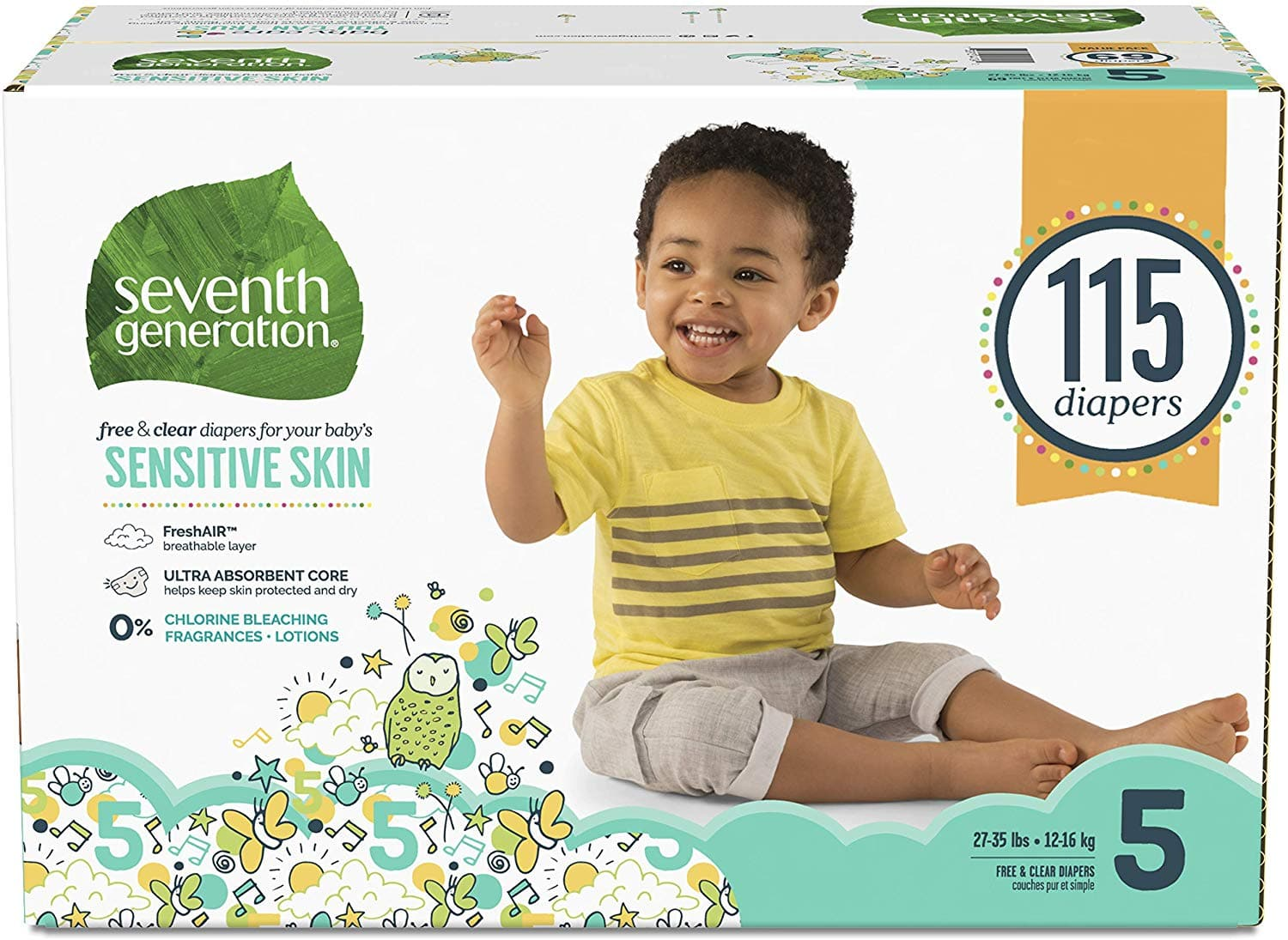 Seventh Generation Baby Diapers for Sensitive Skin, Animal Prints, Size 5, 115 Count (Packaging May Vary) $11.67 or less