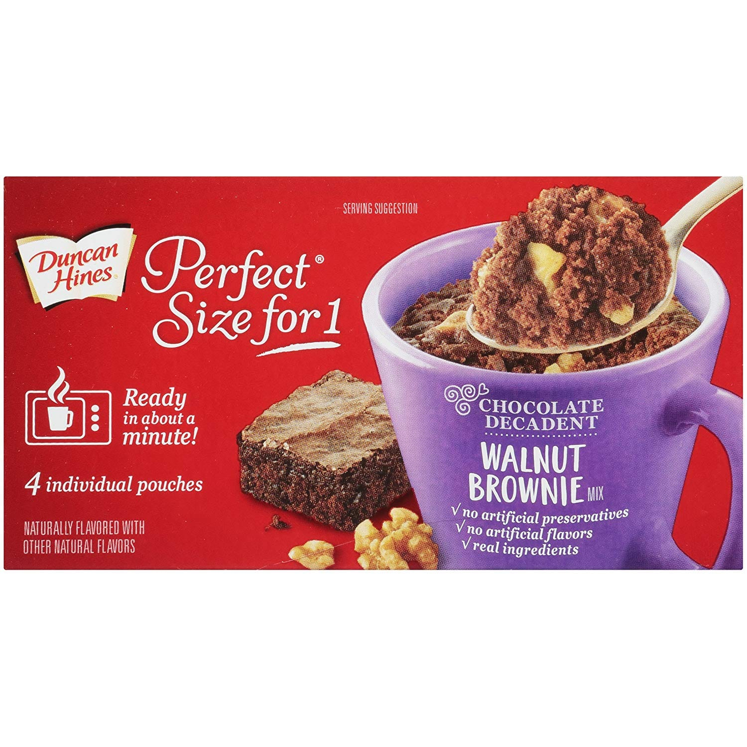 Duncan Hines Perfect Size for 1 Brownie Mix, Ready in About a Minute, Walnut Brownie, 4 Individual Pouches [Walnut Brownie] $0.95 or less