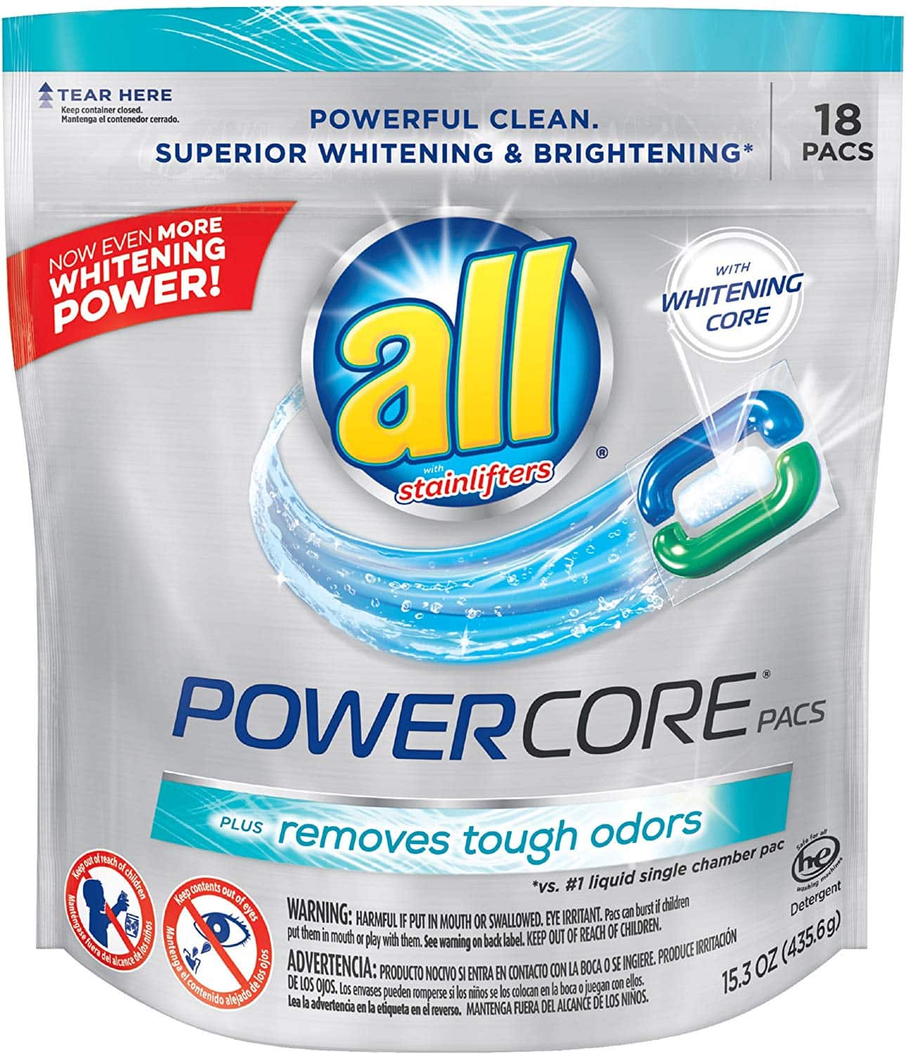 all POWERCORE PACS Laundry Detergent 18 ct Pouch $2.99