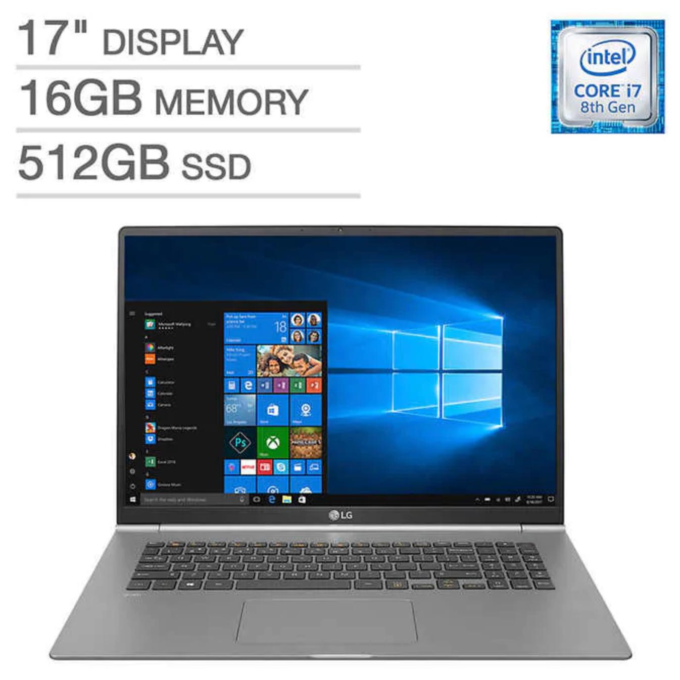 LG Gram 17in. Laptop - Intel Core i7 Processor, 16GB DDR4 Ram, 512GB NVMe M.2, 2.9lbs -$1099